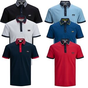 Jack-amp-Jones-Authentic-Polo-T-shirt-For-Mens-Short-Sleeve-Cotton-Tee-7174