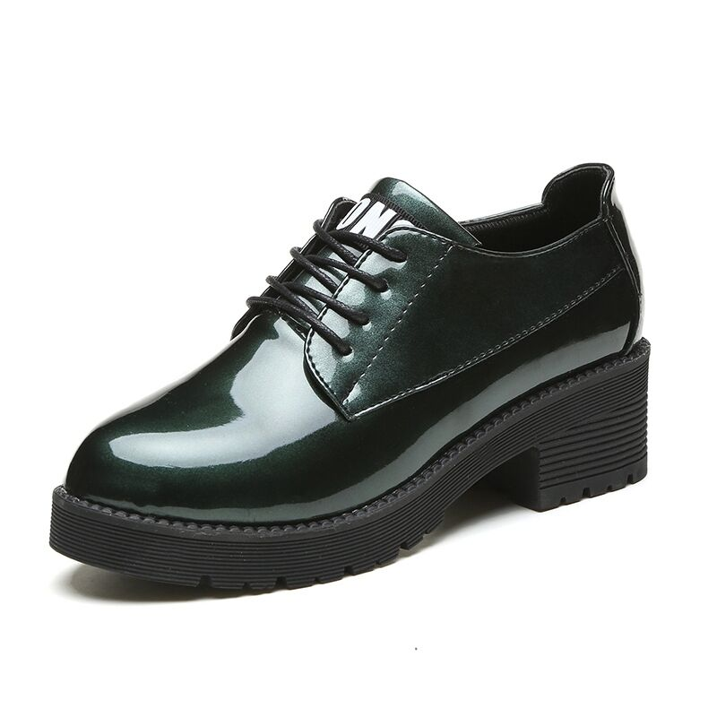 Fashion Damens Oxfords Non Slip Shiny Stylish Lace-up Lady Faux Leder Schuhes