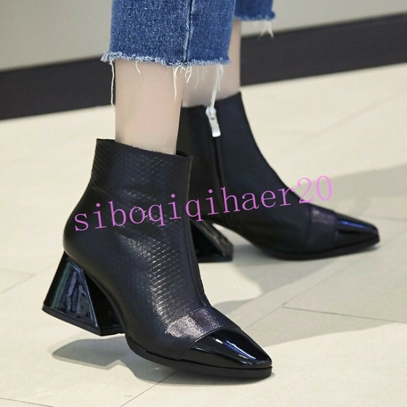 Europe Women's Ankle Boots Shoes Side Zip Square Toe Mid Chunky Heel Solid Sizes