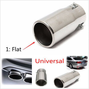 58mm-ID-Car-Flat-Exhaust-Pipe-Tip-Muffler-Stainless-Steel-Trim-Tail-Tube-Chrome
