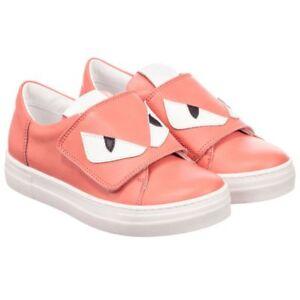 0e7318ef NEW Fendi girls pink leather sneakers shoes logo 31 US 13   eBay
