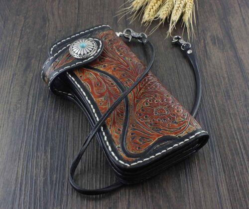 Mens Handmade Vintage Biker Trucker Long Leather Carved Wallet Purse W// Chain