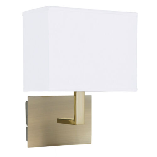 Searchlight 5519AB Antique Brass Wall Light With White Rectangular Fabric Shade
