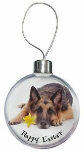 Happy Easter German Shepherd Christmas Tree Bauble Decoration Gif