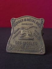 Los Angeles Rubber Stamp Embossed Brass Antique Vintage Advertising Desk Clip