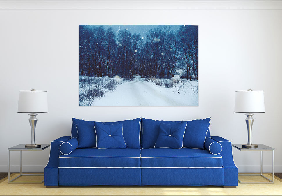 3D Mond Nacht Schnee Wald 8453  Fototapeten Wandbild BildTapete AJSTORE DE Lemon
