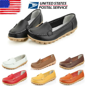 311cf18ad6f8 US Womens Moccasin Slip On Comfort Leather Pumps Casual Loafers Work ...