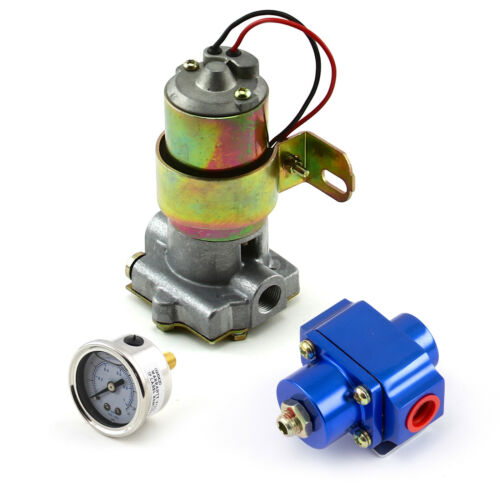 140 Gph Universal Electric Fuel Pump w// Blue Regulator /& Gauge Combo Kit