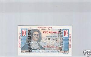 Martinica 10 Francos Colbert Specimen ND (1946) Pick 27 S Raro