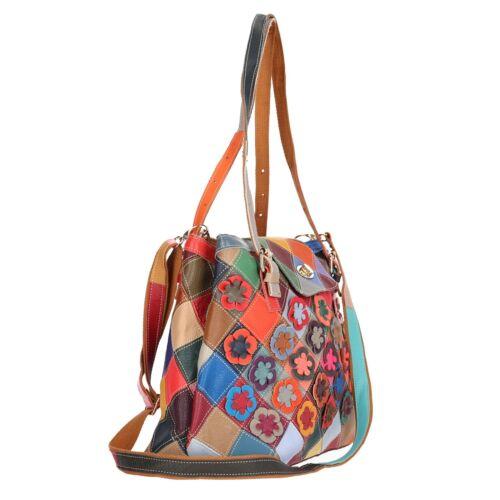 Tasche Schultertasche Echt Leder Shopper Multicolor Blumen NEU Getrennte Fächer