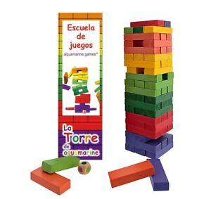 Torre-Jenga-XXL-colores-Juego-de-equilibrio-madera-maciza-60-piezas-Con-dado