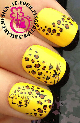 NAIL ART WRAP WATER TRANSFER DECALS ANIMAL PRINT LEOPARD FACE & SPOTS #93