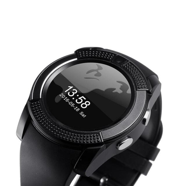 V8 Wireless Smart Watch Phone Touch Bluetooth Wrist Watch for Android iOS Black
