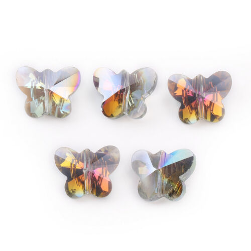 10Pcs 14mm Faceted Glass Crystal Butterfly Loose Spacer Beads Jewelry Making DIY