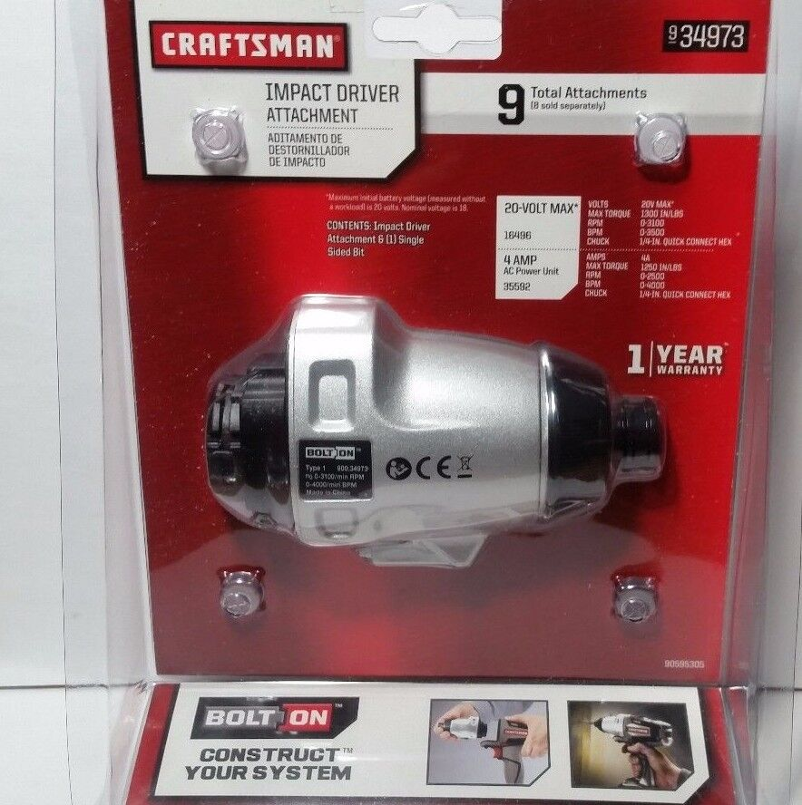 Craftsman Bolt-On 20v Lithium Ion Impact Drill//Driver Attachment 934973 Bolton