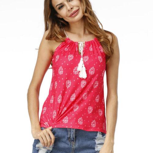 Damen Tank Tops Sommer Bluse Trägertop Trägershirt Shirt Weste Boho Blumen Tee
