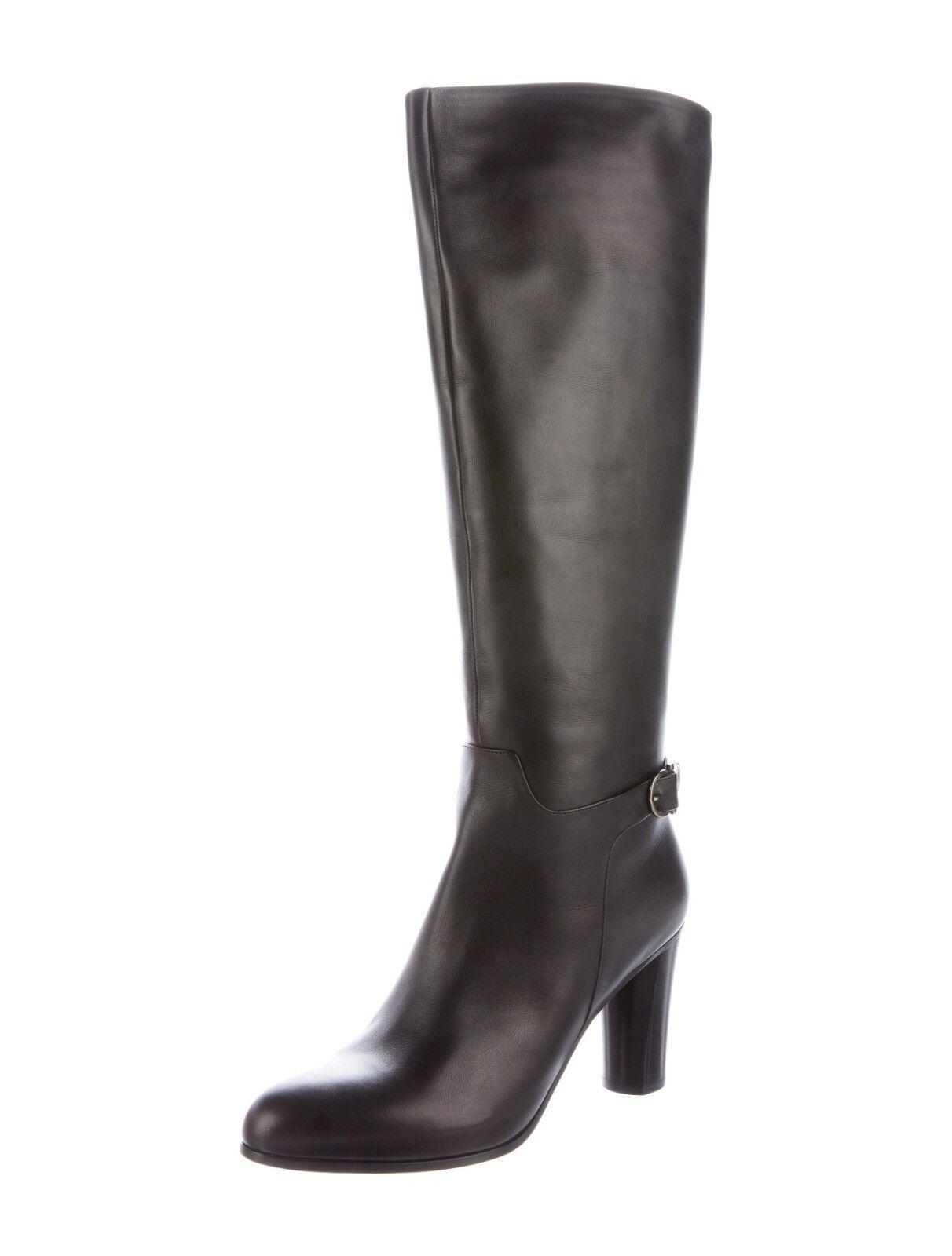 New Salvatore Ferragamo 9.5 Florisa Smooth Leather braun Tall Stiefel Buckle Heel