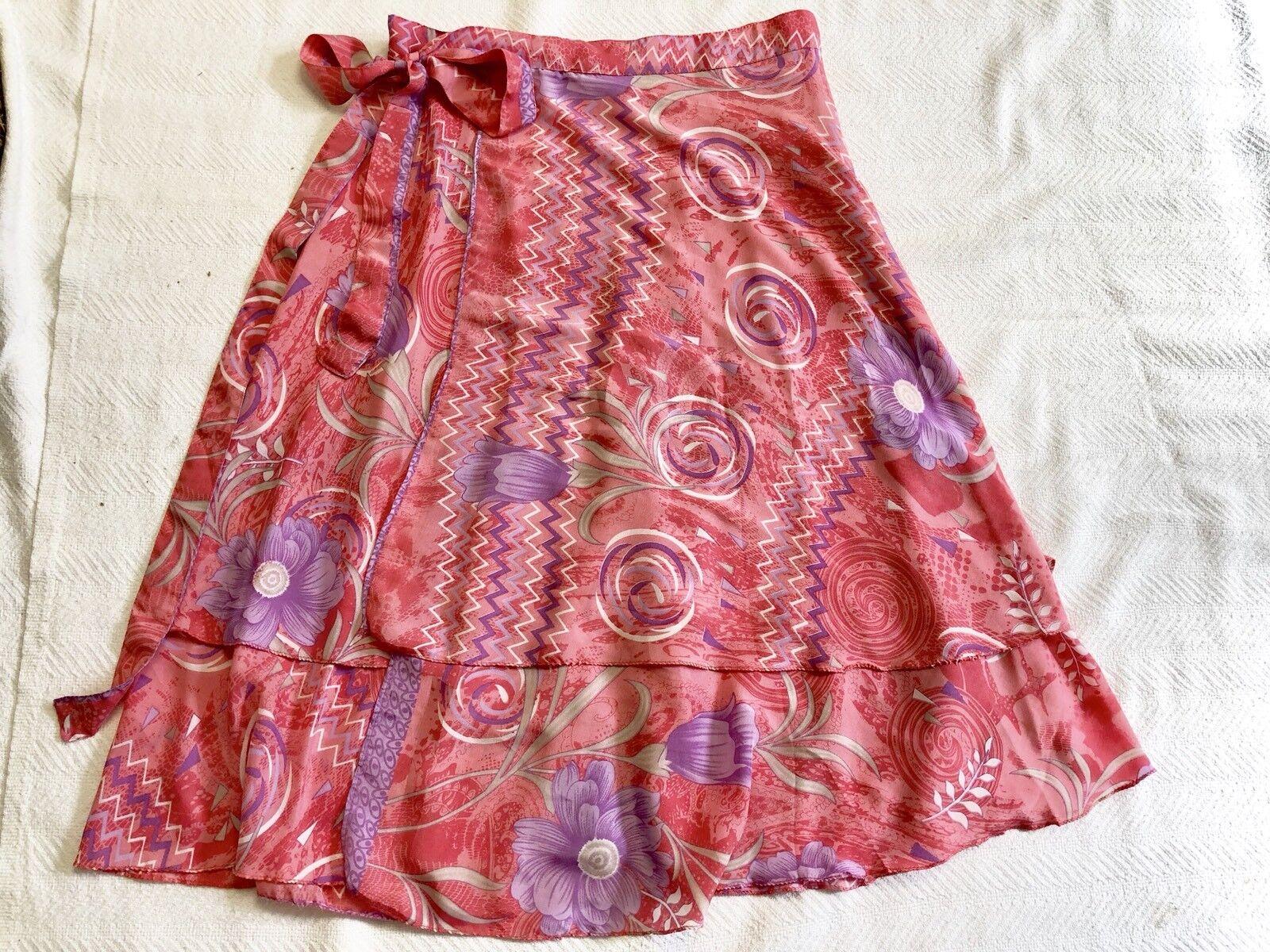 Ladies Coral Pink And Lavender Hawaiian Print Silk Blend Wrap Skirt NWOT