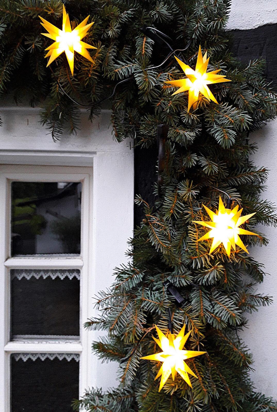 ❀ Sternenkette 9 Mini Sterne LED Lichterkette Gelb Außenstern Leuchtstern  178