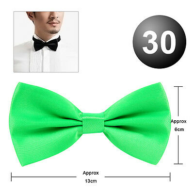 30Colour Mens Pre Tied Wedding Party Prom Fancy Plain Necktie Tie Satin Bow Ties
