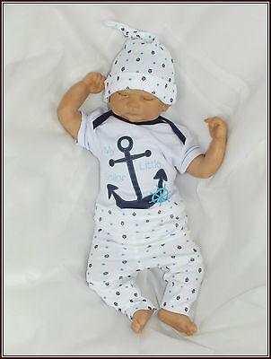 Baumwolle Baby 3er SET Kurzarmbody + Hose + Mütze gr 56 62 68 74 Englandmode
