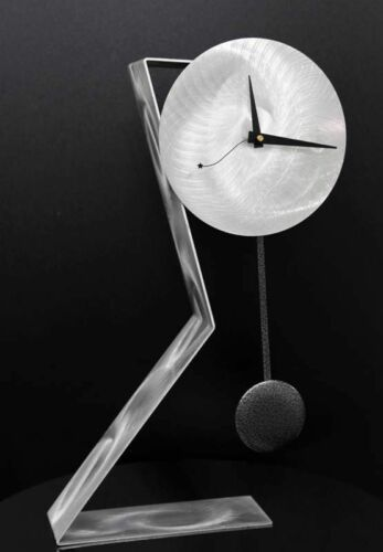 Statements2000 Modern Metal Desk Clock Pendulum Silver by Jon Allen Time Keeper