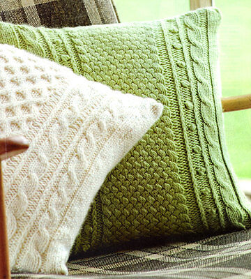 """Aran Cushions Two Styles ~ Lattice & Honeycomb 14""""  This is a Knitting Pattern !"""