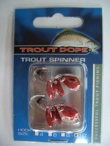Red Copper Trout Dope Spinner Hakengröße 10 2 Stück Kunstköder Forellenköder