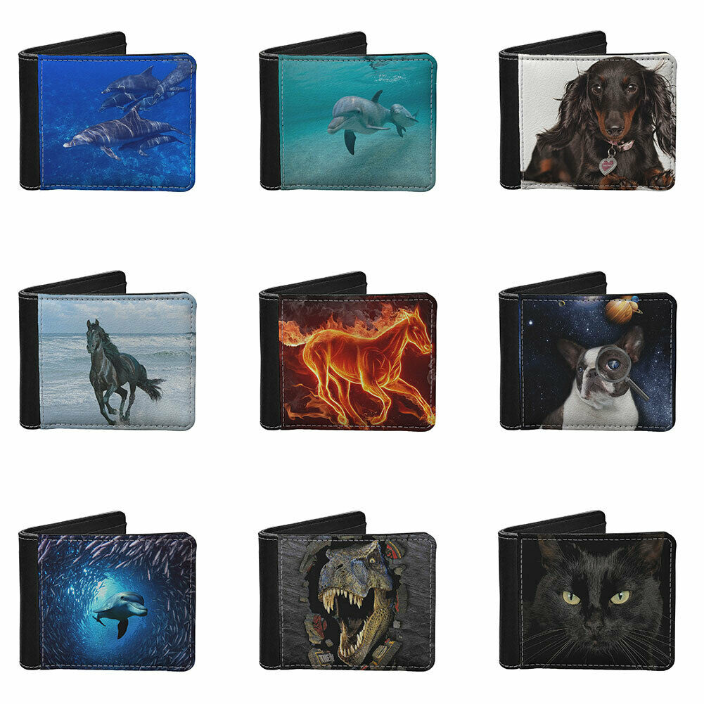 Animals Leather Wallet for Men Blocking Bifold Stylish Wallet Travel Business