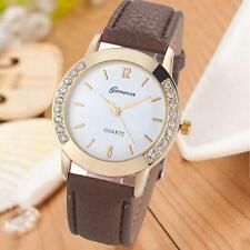 Geneva Fashion Women Diamond Analog Leather Quartz Wrist Watch Watches L0J8