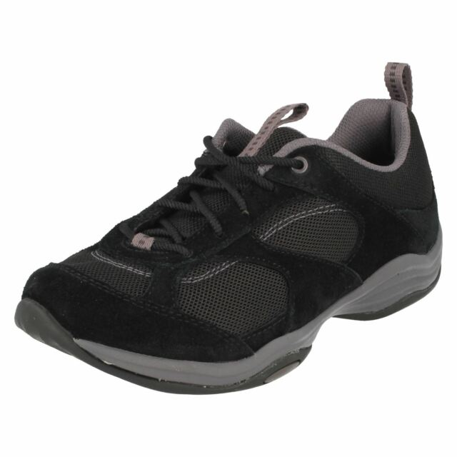 fd41d11b5d7 Ladies Clarks Black Suede Lace up Everyday Walking Trainers Shoes ...