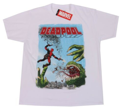 Marvel Comics Mad Engine White Deadpool Tee Size L 100/% Cotton T-Shirt