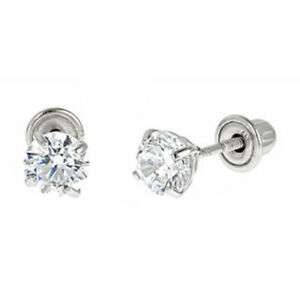 Toddler In 14K White Gold With Screw Backs 4mm Round CZ Stud Earrings For Baby