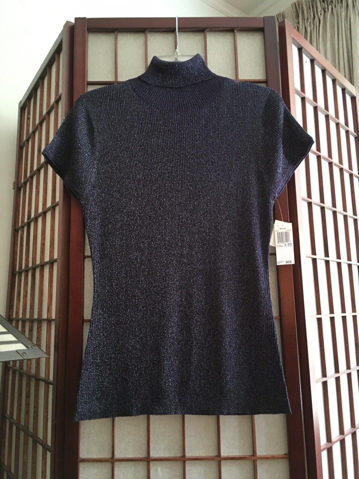 NWT AUGUST SILK Cocktail Turtleneck Knit Top Size PL Purple Navy Metallic