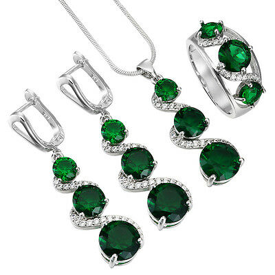 925 Silver Filled Ring Necklace Earrings Jewelry Set Gemstone Rhinestone Party