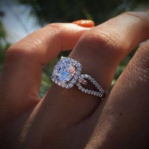 925 Sliver Round Topaz Ring Wedding Engagement Queen Women Gift Wholesale 6-10