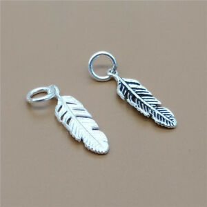 5-Sterling-Silver-Small-Feather-Charms-for-925-Silver-Bracelet-Necklace