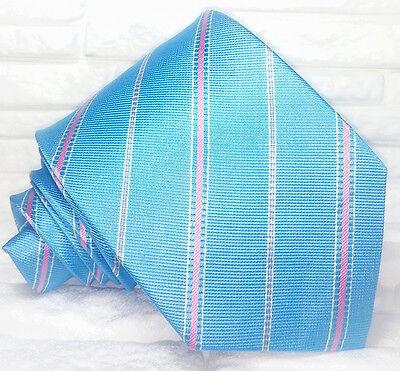 Cravatta Regimental Blu Azzurro Made In Italy 100% Seta Busines Evento Informale Può Essere Ripetutamente Ripetuto.