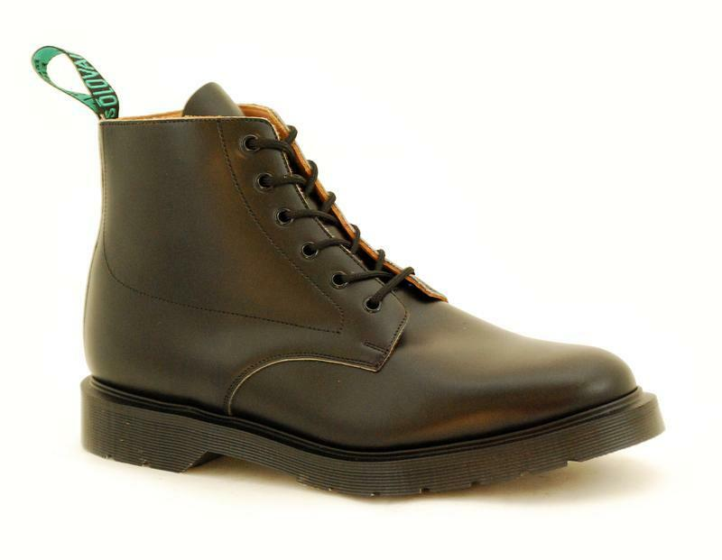 Solovair NPS shoes Made in England 6 Eye Black Police Ankle Boot S063-6559
