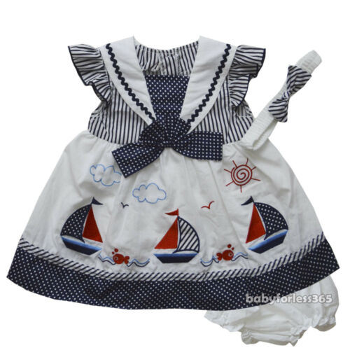 NWT Baby Girls Dress w Diaperwear Headband Clothes Outfit size 0 3 6 9 months