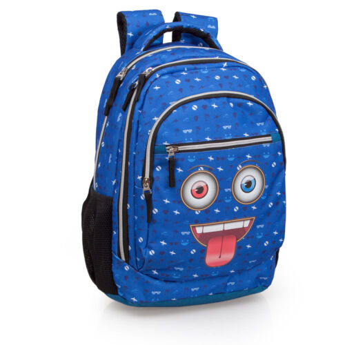 Blue Laptop PREMIUM Backpack Rucksack 3 Zip School Bag Funny Faces Tongue Out