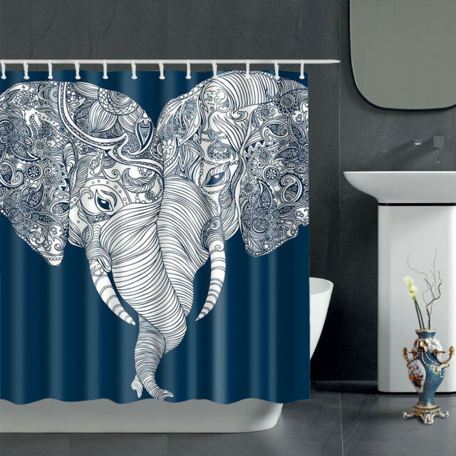 "72/"" Boho Style Lovely Elephant Bathroom Decor Shower Curtain Waterproof-12-Hooks"