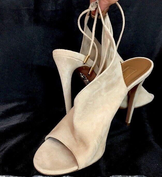 Aquazzura chaussures Beige Beige Beige Suede Tie Back Open Toe Slim Heel Taille 40 New 691646