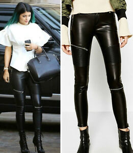 982a7bbff Details about NWT ZARA FAUX LEATHER BIKER TROUSERS WITH ZIPS BLACK PANTS  LEGGINGS - All size