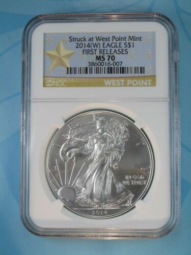 2014 NGC MS70 SILVER EAGLE STRUCK AT WEST POINT FIRST RELEASES STAR LABEL W