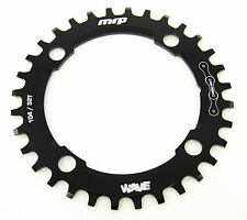 MRP Mountain Bike Wave Chainring 32T 104 BCD, Black