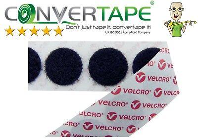Genuine Velcro Brand 22mm DOTS Nero Autoadesivo MONETE PS14 Hook Loop