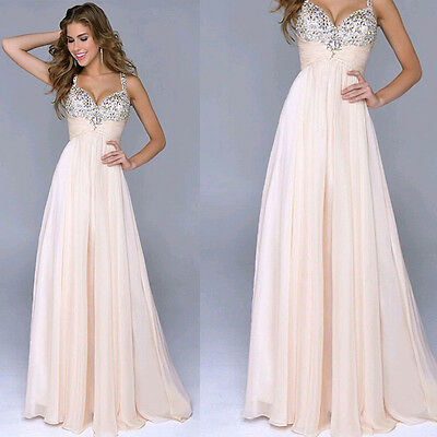 Women Long Formal Evening Ball Gown Party Prom Bridesmaid Sequins Chiffon Dress