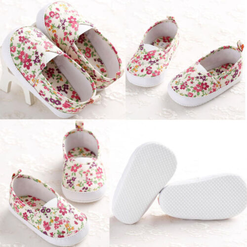 Cute Flower Slip-On Shoes Low Top Toddler Baby Girls Canvas Shoes Walking Comfot
