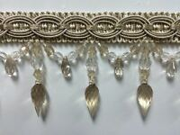 4 Crystal Beaded Fringe Trim Tf-32/3-2 (cream & Beige) Sold By The Yard $5.95